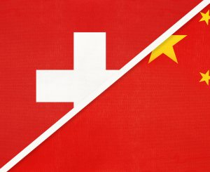 China Schweiz Flaggen