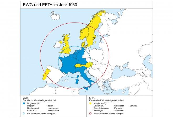 Karte EWG und EFTA 1960
